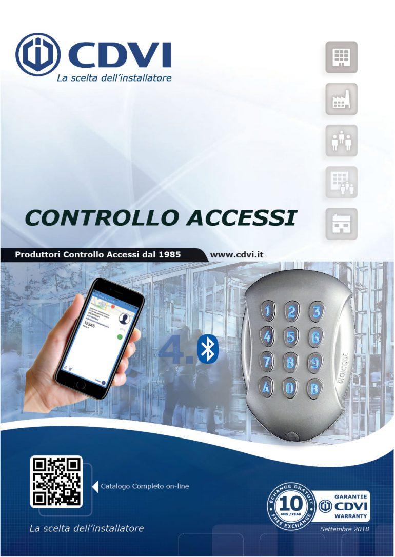 Depliant con più prodotti e strettamente legato ai sistemi di Controllo Accessi